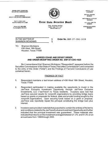Order No. ENF-07-CDO-1638 - Texas State Securities Board