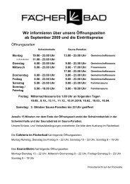 Wir informieren über unsere Öffnungszeiten ab September 2009 ...
