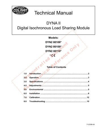 DYNA II Digital Isochronous Load Sharing - ssdservice.pl