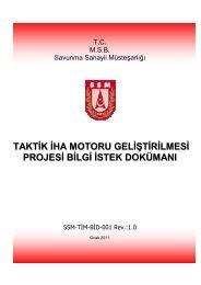 taktik iha motoru geliştirilmesi projesi bilgi istek dokümanı