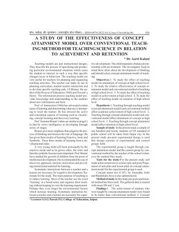 a study of the effectiveness of concept attainment model over ...