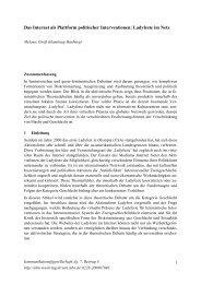 Das Internet als Plattform politischer Interventionen ... - SSOAR