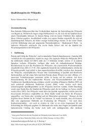 Qualtitätsaspekte der Wikipedia - SSOAR