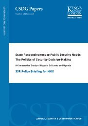 HMG SSR Policy Briefing - Conflict, Security and Development Group