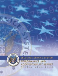 Performance Details - Selective Service System