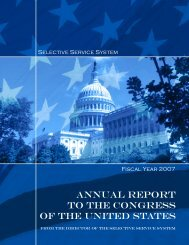 annual report to the congress of the united states - Selective Service ...