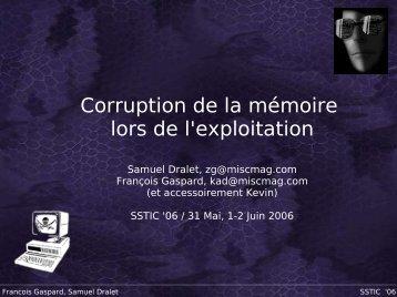 Corruption de la mémoire lors de l'exploitation - Sstic