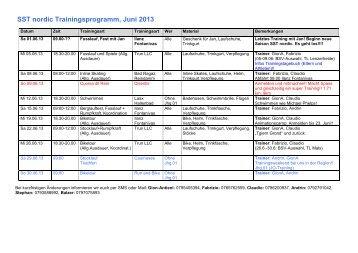 SST nordic Trainingsprogramm, Juni 2009 - SST Surselva