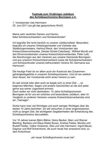 Festrede des 1. Vorsitzenden - Schießsportverein Bennigsen e.V.