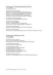 Prüfungen, eingegangen bis zum 14.05.2012 - SSV