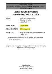 casey south division swimming carnival 2013 - School Sport Victoria
