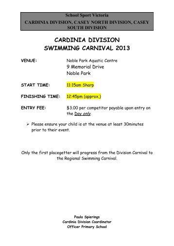 cardinia division swimming carnival 2013 - School Sport Victoria