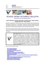 Bulletin 1 - January 28, 2011 - School Sport Victoria