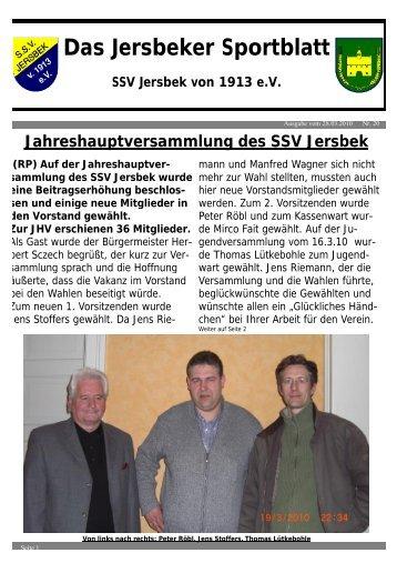Das Jersbeker Sportblatt – SSV Jersbek Von 1913 E.V