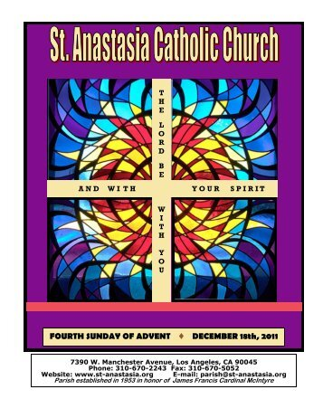 FOURTH SUNDAY OF ADVENT Ë DECEMBER 18th, 2011