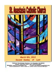 March 4th, 2012 Second Sunday of Lent - St. Anastasia Catholic ...