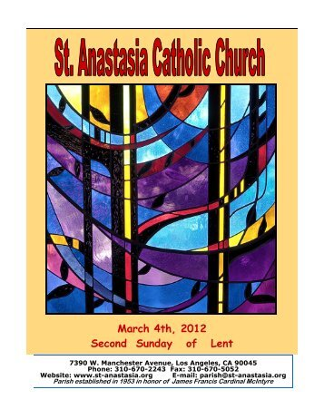 March 4th, 2012 Second Sunday of Lent - St. Anastasia Catholic ...