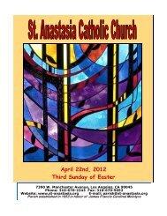 April 22nd, 2012 Third Sunday of Easter - St. Anastasia Catholic ...