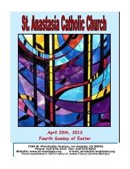 April 29th, 2012 Fourth Sunday of Easter - St. Anastasia Catholic ...