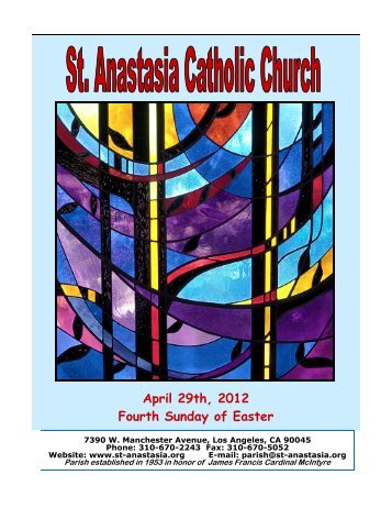 April 29th, 2012 Fourth Sunday of Easter - St. Anastasia Catholic ...