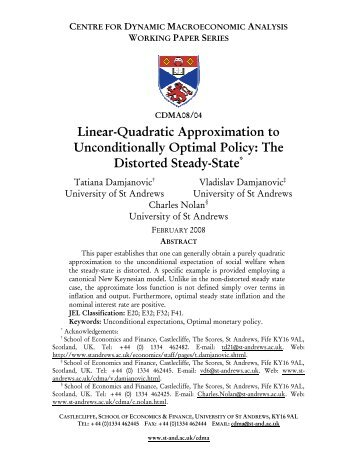 Linear-Quadratic Approximation to Unconditionally - University of St ...