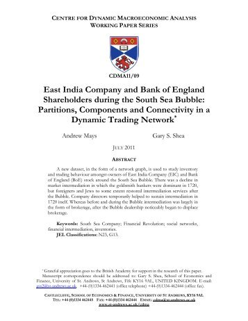 East India Company Shareholders and the South Sea Bubble