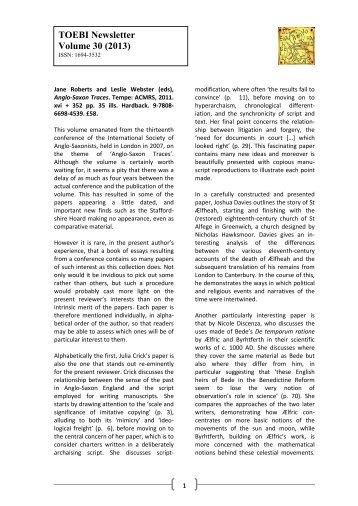 TOEBI Newsletter Volume 30 (2013) - University of St Andrews