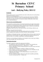 Bullying Policy 2011/12 - St Barnabas CEVC Primary School