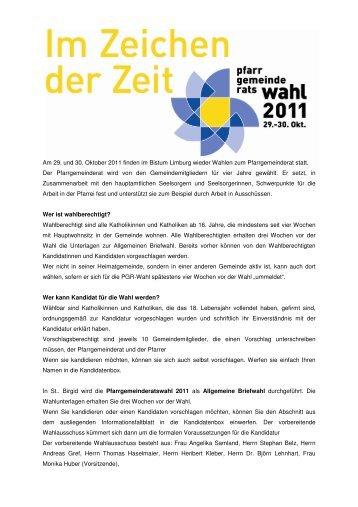 Am 29. und 30. Oktober 2011 finden im Bistum Limburg wieder ...