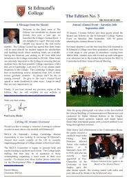 St Edmund's Edition No. 3 - St Edmund's College - University of ...