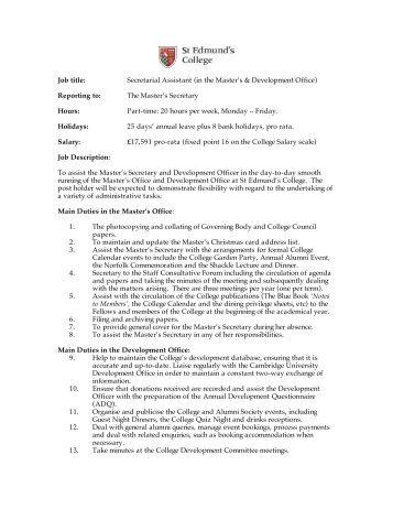Assistant Secretary Job Description 14th November 2012 2 Final
