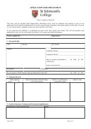 Job Application Form - St Edmund's College