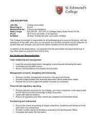 JOB DESCRIPTION Job title: College Accountant Reporting to ...
