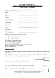 st edmund's college application for a tutorial award for academic ...