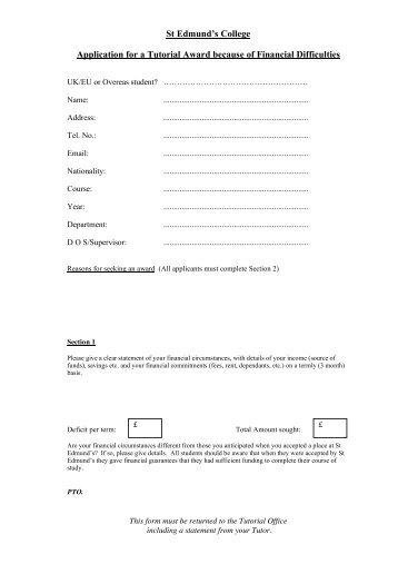 Hardship App - St Edmund's College