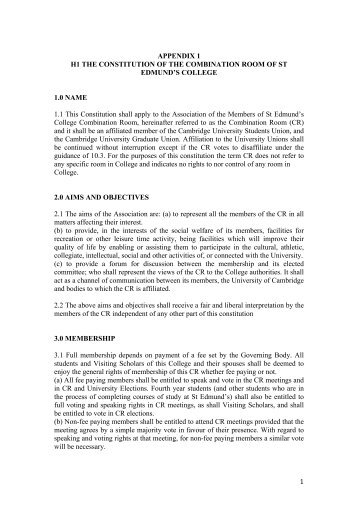Appendix 1 - St Edmund's College - University of Cambridge