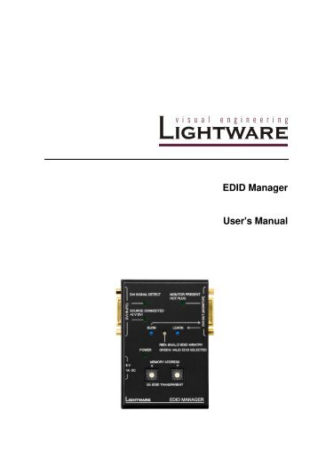 EDID Manager User's Manual - Eavs