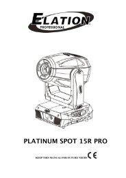 Platinum Spot 15R Pro User Manual v.1 - Elation Professional