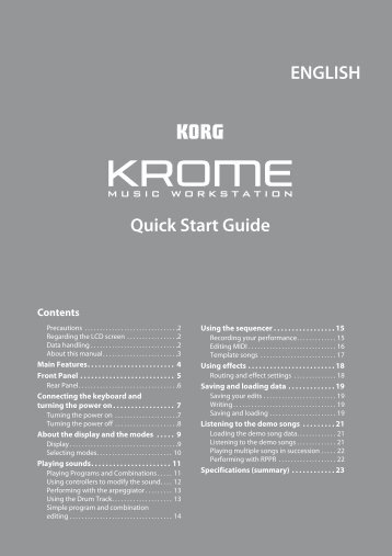 KROME Quick Start Guide - Korg
