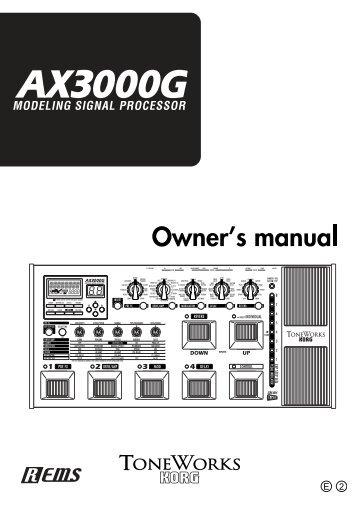 AX3000G Owner's manual - Korg
