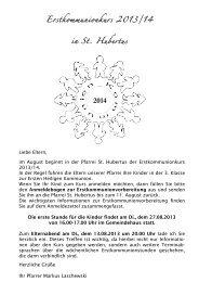 Informationen und Anmeldeformular zur Erstkommunion 2014