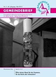 Mai 2013 - Evang.-Luth. Kirchengemeinde Feucht