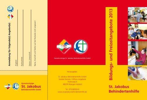Bildungs- und Freizeitangebote 2013 - St. Jakobus Behindertenhilfe