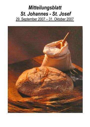 Mitteilungsblatt St. Johannes - St. Josef - Katholische Pfarrei St ...