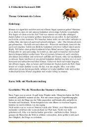 4. Frühschicht Fastenzeit 2008 Thema: Geheimnis des Lebens ...