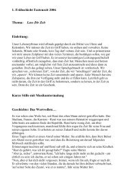 1. Frühschicht Fastenzeit 2006 Thema: Lass Dir Zeit Einleitung ...