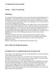 5. Frühschicht Fastenzeit 2006 Thema: Wahre Freundschaft ...