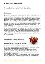 4. Frühschicht Fastenzeit 2009 Thema: Ein kostbares Geschenk ...