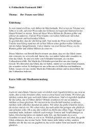 4. Frühschicht Fastenzeit 2005 Thema: Der Traum vom Glück ...