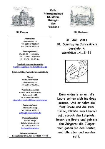 31.07.2011 - 18. Sonntag im Jahreskreis A - Die Pfarrei St.Maria ...